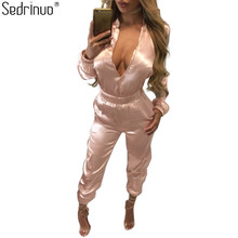 Sedrinuo Fashion Long Sleeve Bodycon Rompers Womens Jumpsuit Stain Front Zipper Sexy V neck Long Pants Jumpsuits Vestidos