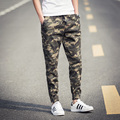 spring and autumn season 2016 new men's fashion movement slim lace upon military camouflage feet XL leisure pants M-5XL