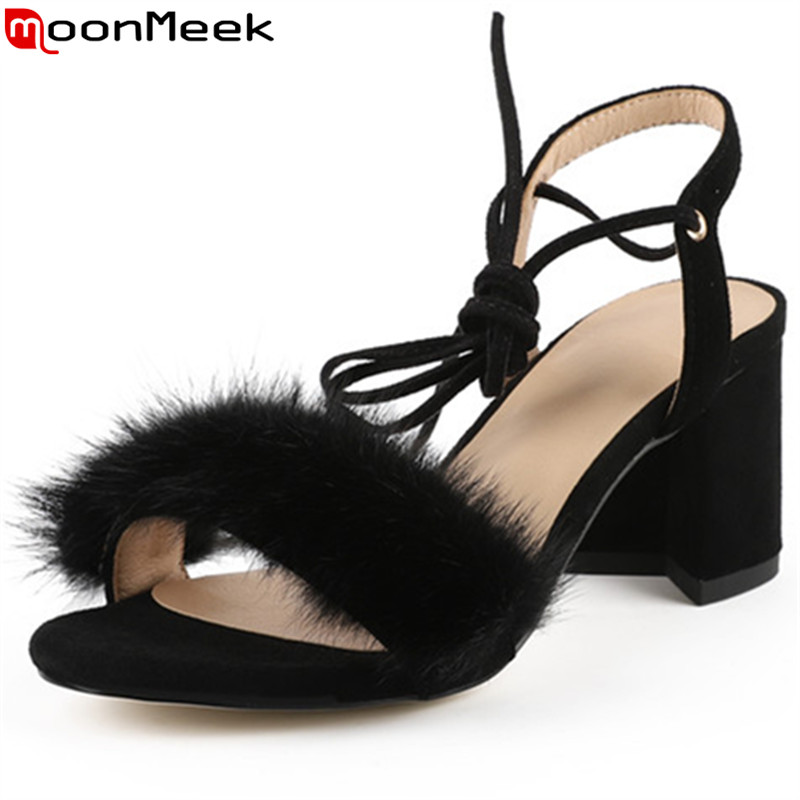 ASUMER black pink fashion summer shoes woman ankle strap thick heel sandals women suede leather elegant wedding shoes asumer black apricot fashion summer ladies shoes cross tied peep toe high heel sandals shoes elegant wedding shoes thick heel