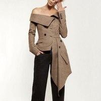 2018 New Autumn Women Blazers Coat Long Sleeve Asymmetric Plaid New Slash Neck Lady Office Brown Jackets Coat Casual Outfits