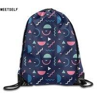 3D Print Colorful Geometric Shoulders Bag Women Fabric Backpack Girls Beam Port Drawstring Travel Shoes Dust
