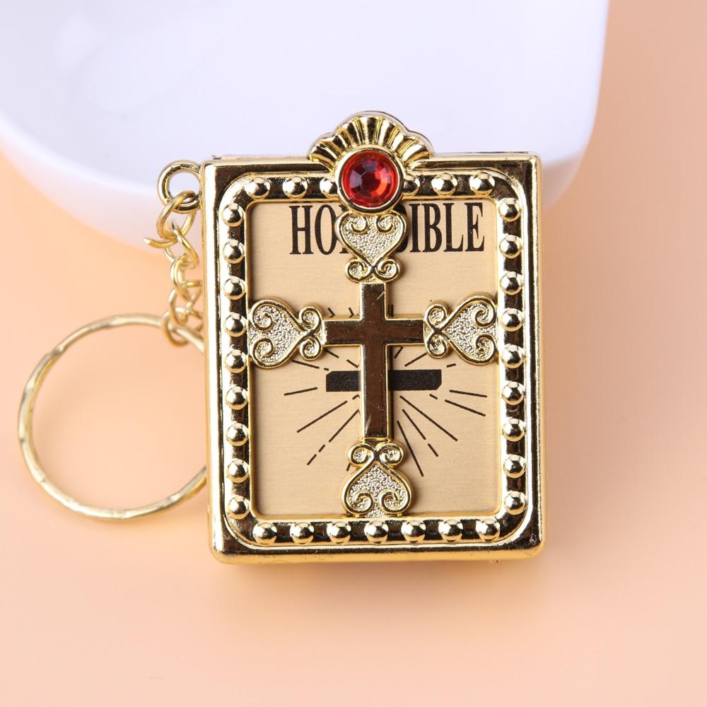 English Spanish Mini HOLY Bible Keychain Religious Christian Jesus Cross Key Chain Women Prayer God Bless Gift Souvenirs Keyring