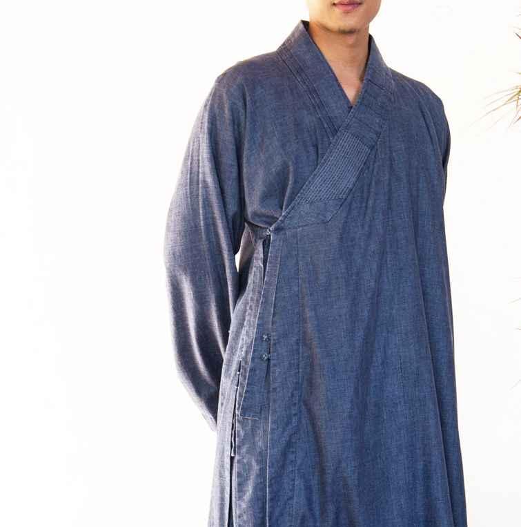 ユニセックス春 & 秋の綿 & リネン禅レイローブ瞑想スーツ僧侶服のガウン制服少林寺カンフースーツブルー
