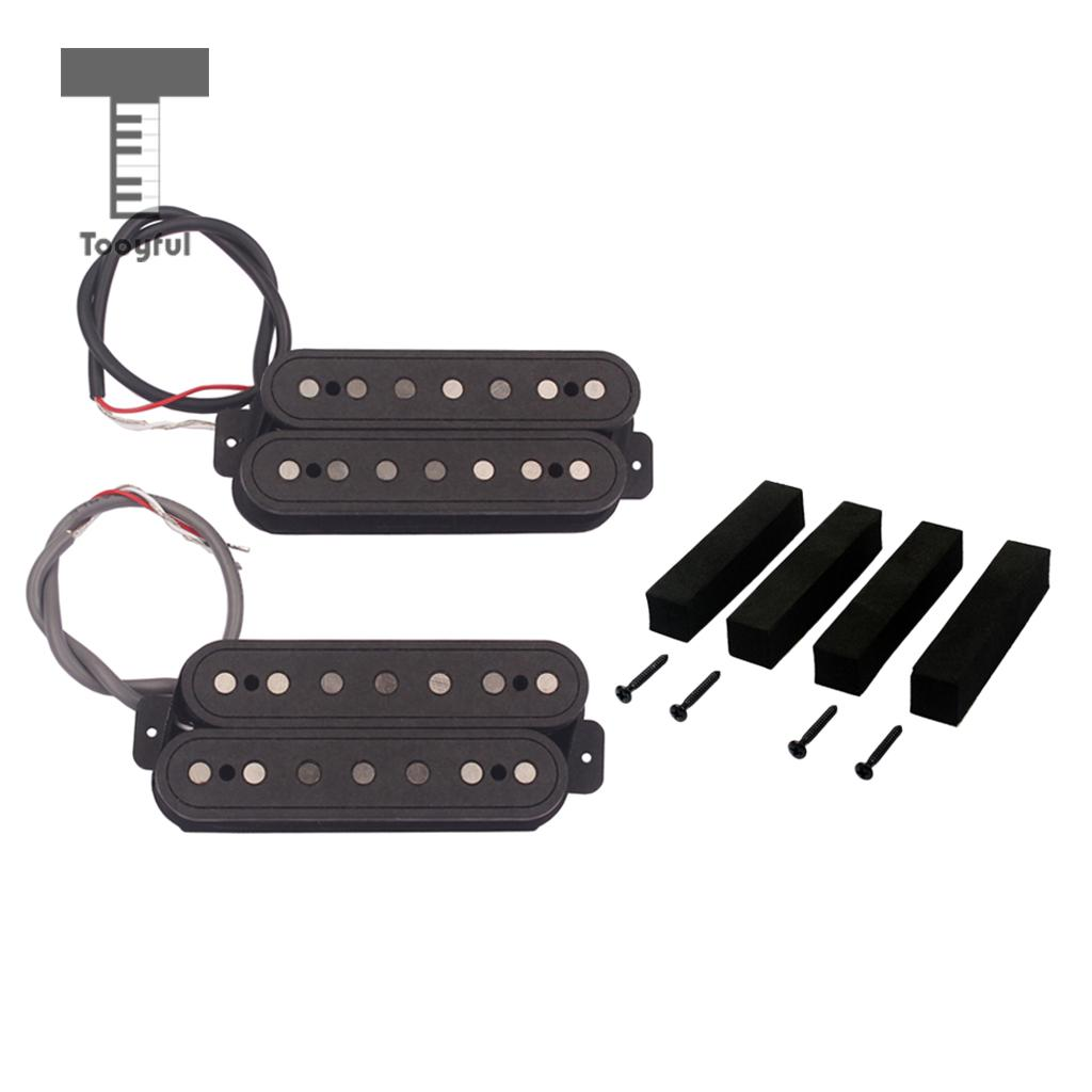 Tooyful 2x Alnico 5 Humbucker Pickup Bridge Neck Set for 7-String Guitar Replacement belcat electric guitar pickups humbucker alnico 5 humbucking bridge neck chrome double coil pickup guitar parts accessories