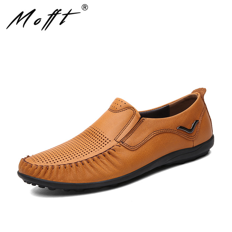 Summer New Punching Breathable Men Leather Shoes Fashion Walking Durable Metal Decoration Men Causal Shoes Men