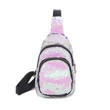 10PCS / LOT Fashion Women Chest Pack Paillette Sequins Travel Money Sling Bag For Teenager Girls Glitter Bags Shoulder