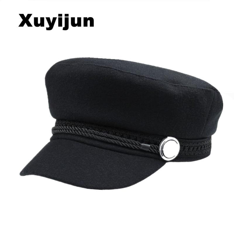 XUYIJUN Winter Hats For Women Men Octagonal   Cap   Wool Button   Baseball     Caps   Visor Hat   Caps   Casquette Black Casual Berets