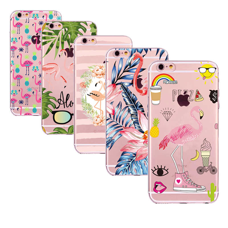 Case For iphone 5s 5 s se Case Cover Flamingo Pattern Silicone Soft Shell Cover For Apple iPhone 6s 6 s 7 8 plus x 10 Bags Funda