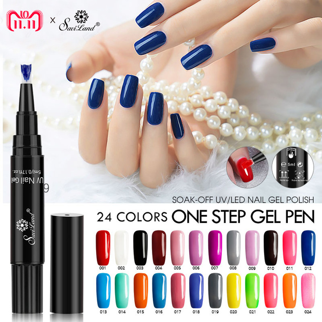 Saviland 3 In 1 Glitter Nail Gel Varnish Pencil One Step Uv Lacquer Pen No