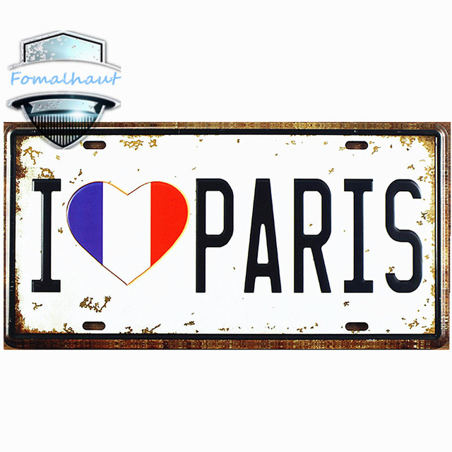 Vintage Car Plate \ I LOVE PARIS\  Wall Art Craft Vintage Metal Signs for Bar  sc 1 st  AliExpress.com & Vintage Car Plate \