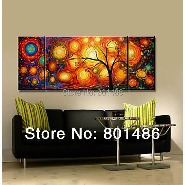 Free shipping 100 handmade 3 panel modern abstract tree oil painting beautiful home decor
