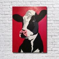 Ручной работы Акриловые животных Картины современный Книги по искусству стены картину Домашний Декор расписанную милый молочная корова ма...