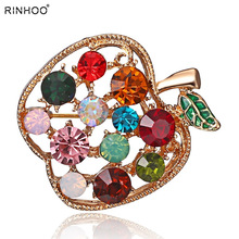 Full Rhinestone Apple Brooches For Women Shinnig Summer Brooch Pin Dress  Coat Hat Broches Luxury Bijouterie 6a971406873b