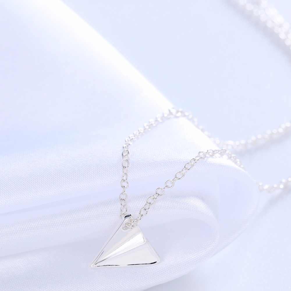 Chandler argent or-couleur plaque Origami avion colliers et pendentif pour les femmes Triangle charme Original Simple accessoire vente en gros