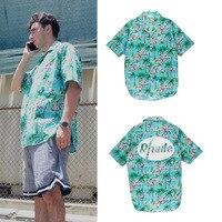 2019 New RHUDE T shirt Men 1:1 Best Quality Top Tees Hip hop Flamingo Skateboard Short Sleeve green bird RHUDE T shirts S XL