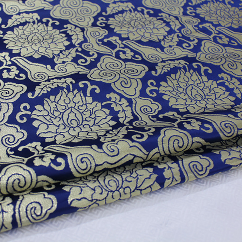 HLQON 75cm width brocade yarn dyed blue fabric for felt patchwork tissue telas bed sheet cheongsam dress children cloth coat