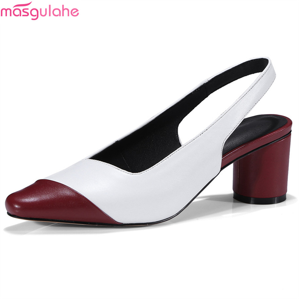 Chaussures Printemps wine Noir Cuir Red Masgulahe Dames Automne Talons En Noir Mode Simples Épais Orteil Carré Vin Talon Véritable Rouge Hauts Femmes xnHHR0qI