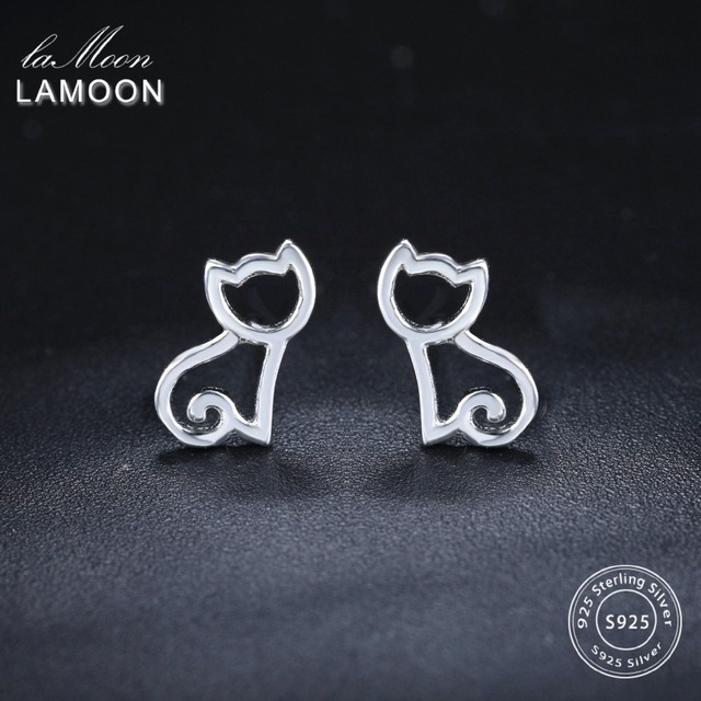 LAMOON 2018 New Hollow Cat 925-Sterling-Silver Stud Earrings Silver Color S925 F