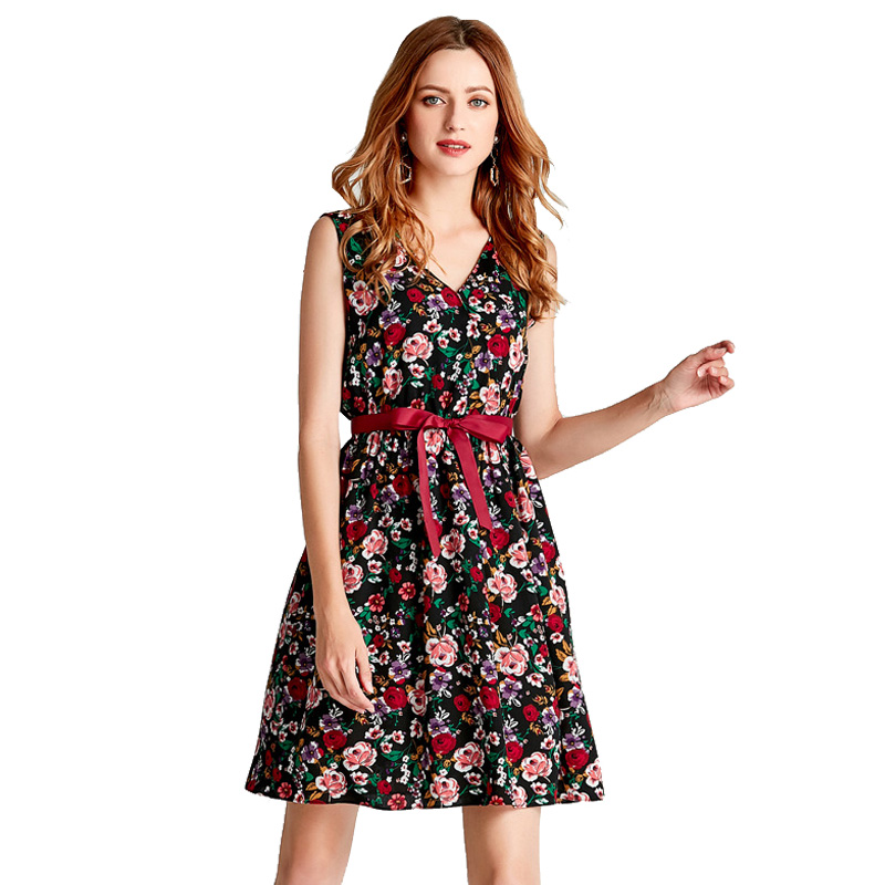 IUURANUS Summer Dress Women Sweet Print Floral Fashion Casual Style Vintage Female Elegant sleeveless party dress in Dresses from Women 39 s Clothing