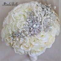 باقة matrimonio كريستال روز باقات الزفاف باقة الزفاف الأبيض العاج الاصطناعي الماس الزهور عرائس باقة بروش