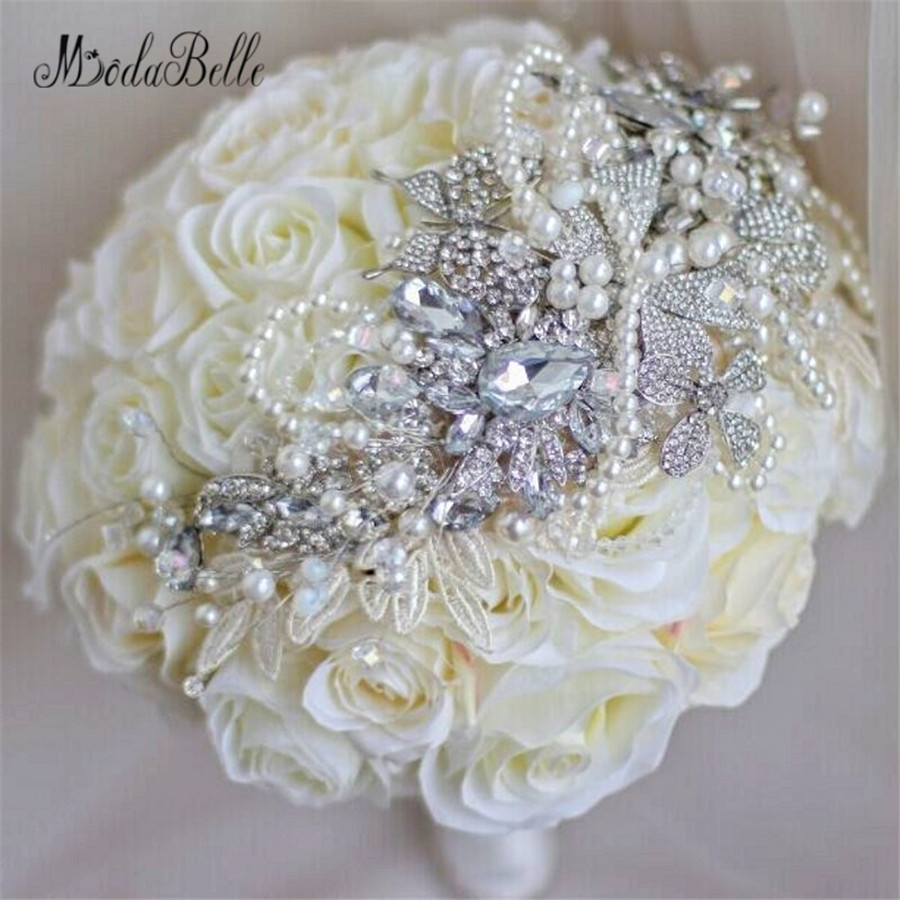 Bouquet Matrimonio Crystal Rose Bridal Bouquet White Ivory Artificial Wedding Bouquets Diamond Flowers Brides Bouquets Brooch