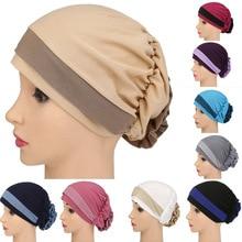 2017 India Cap Bandanas Flower Muslim Headwear For Chemo Pleated Pre Tied Head Cover Up Women's Bonnet Sun Turban Cap 12 Colors