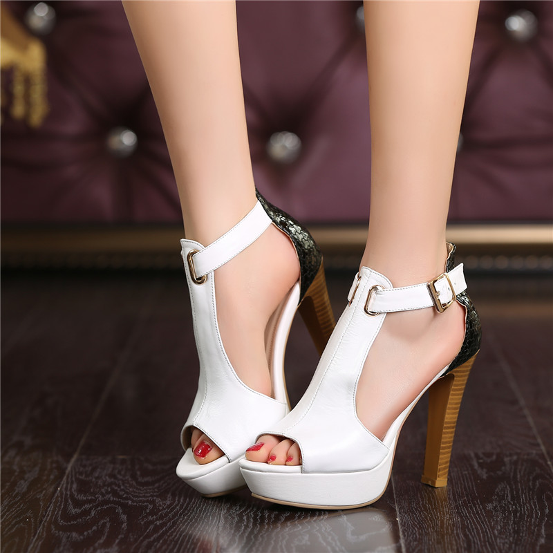 YMECHIC Lady s Party Wedding White Real Leather Bride Shoes Summer Womens T Strap Peep Toe