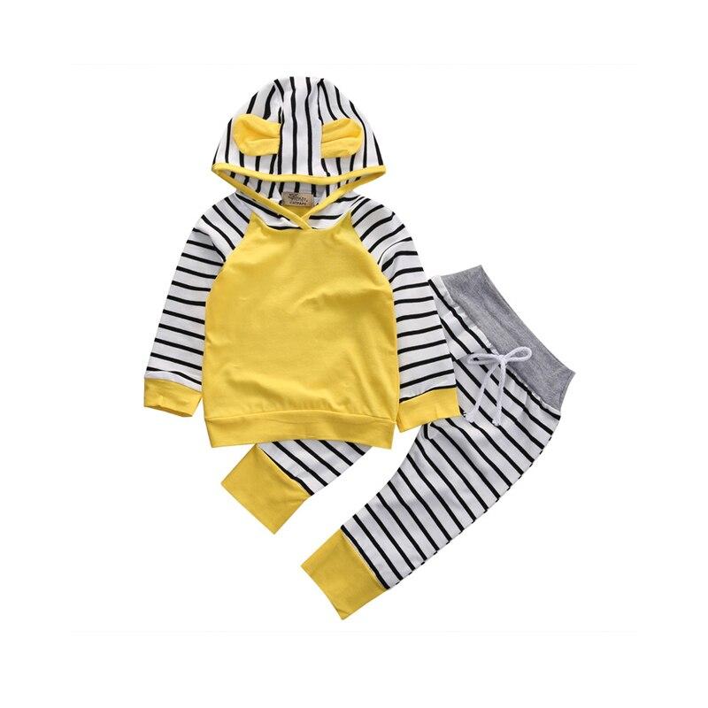0-3y Frühling Herbst Mode Lässig 2 StÜcke Kleinkind Baby Mädchen Jungen Langarm-kapuzen Mit Ohren Gestreifte Gelb Kurz Top Hose