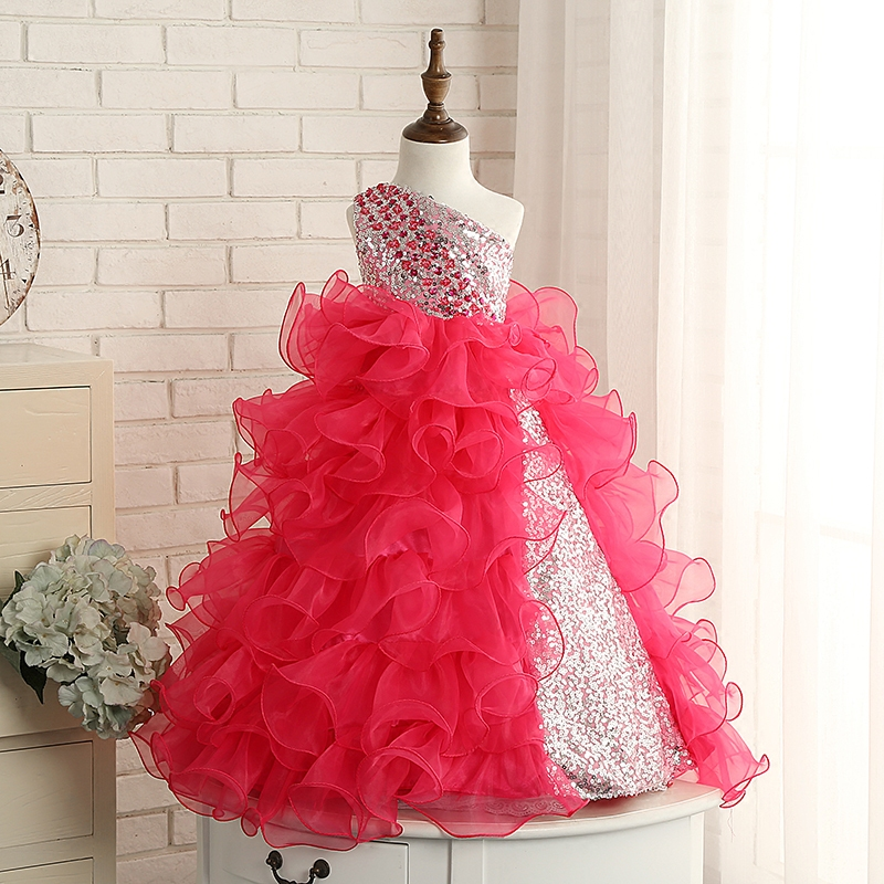 Asymmetrical Ball Gown Flower Girl Dress Sequined Kids Girl Dresses Sleeveless Wedding Party Princess Girls Dress Communion D87 girl flower dress kids party wear sleeveless clothing girl wedding dresses ball prom first communion dresses for girls