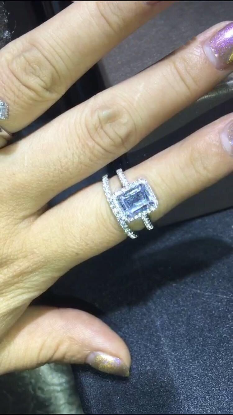 TR012S Luxury New Bridal Set 3 Carat 7*9 MM Wedding Rings Sets Best Quality NSCD Synthetic Gem 2PC ring sets