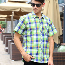 Summer Casual Mens Short Sleeved Pliad Shirt