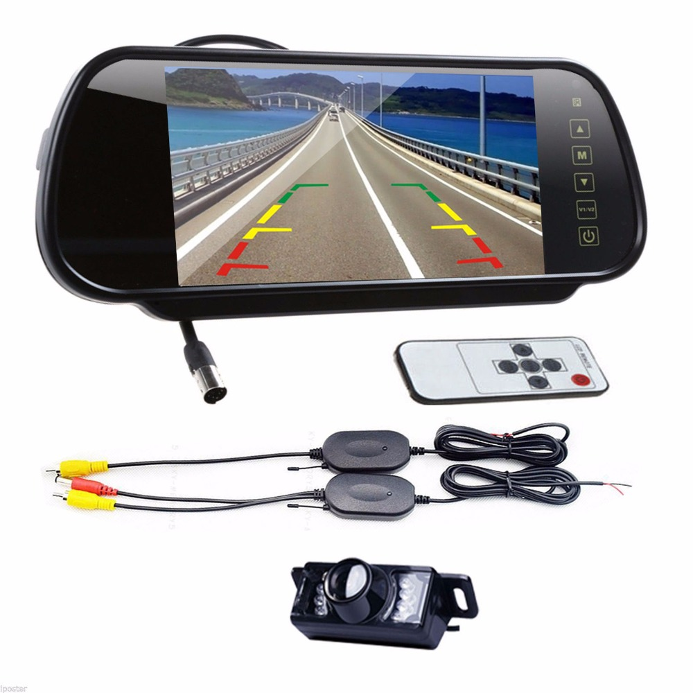 ANSHILONG 7inch LCD Mirror Monitor  Wireless Car Reverse Rear View Backup Camera Night Vision