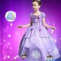 Princesa Sofia Vestido Da Menina Princesa Sofia Roxo Vestido longo Big Pétalas Princesa Sophia Vestido de Algodão Dos Desenhos Animados para Crianças Vestidos de Festa