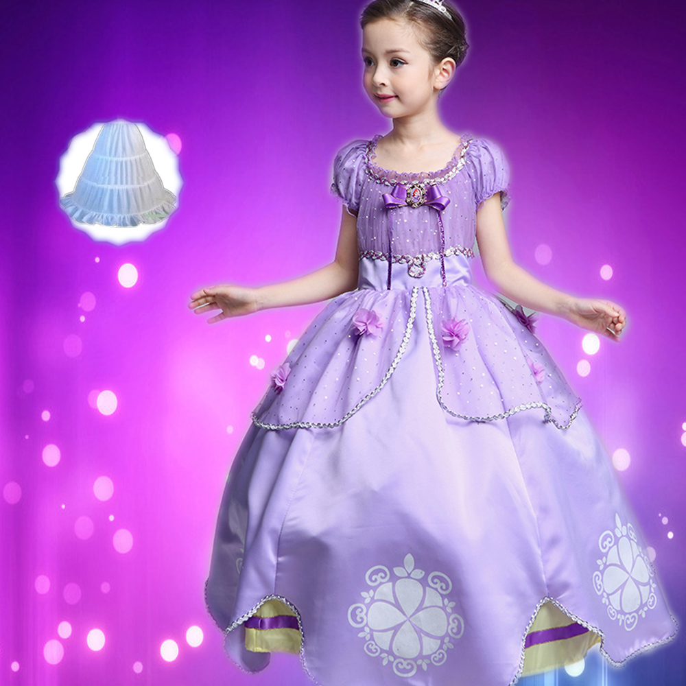 Princess Sofia Dress Girl Sofia Princess Purple long Dress Big Petals Sophia Princess Dress Cotton Kids Cartoon Party Dresses