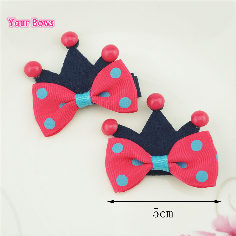 Your Bows 2Pcs 6 Colors Hot Sale Crown Shaped Hair Bows With Clips Ribbon Bows Hairpins Headwear Baby Children Hair Accessories halloween party zombie skull skeleton hand bone claw hairpin punk hair clip for women girl hair accessories headwear 1 pcs