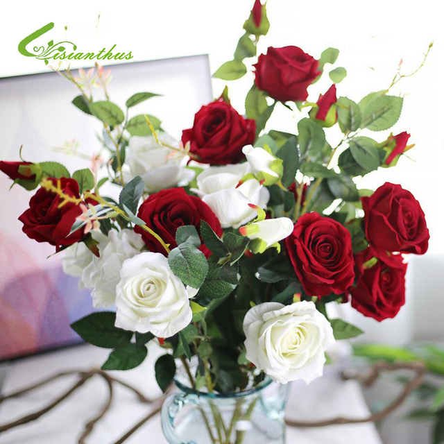 Cukup Charming 1 Bouquet 3 Kepala bunga Buatan bunga Mawar Sutra Daun Pesta  Pernikahan Desain Bunga e5ab182c1e