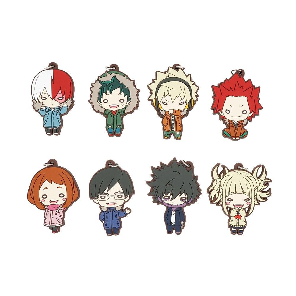 My Hero Academia Anime Boku no Hero Academia Midoriya Eijiro Todoroki Shoto Bakugou URARAKA Himiko Toga Dabi Rubber Keychain