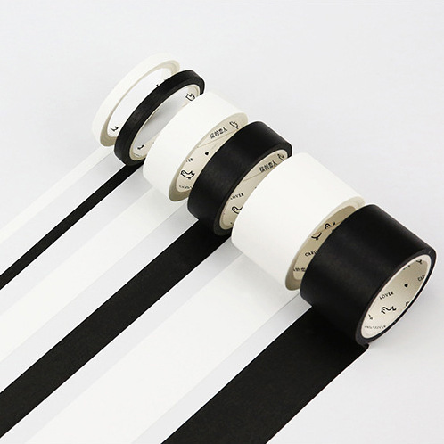1pc/set Black And White Decorative  Washi Tape Self-Adhesive Masking Tape School Supplies Stationery