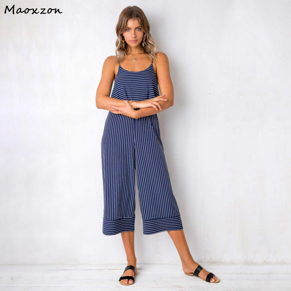 Maoxzon Striped Sexy Loose Strap Rompers Womens Jumpsuits Summer Backless Sleeveless Bandage Suspenders One Piece Pants Female