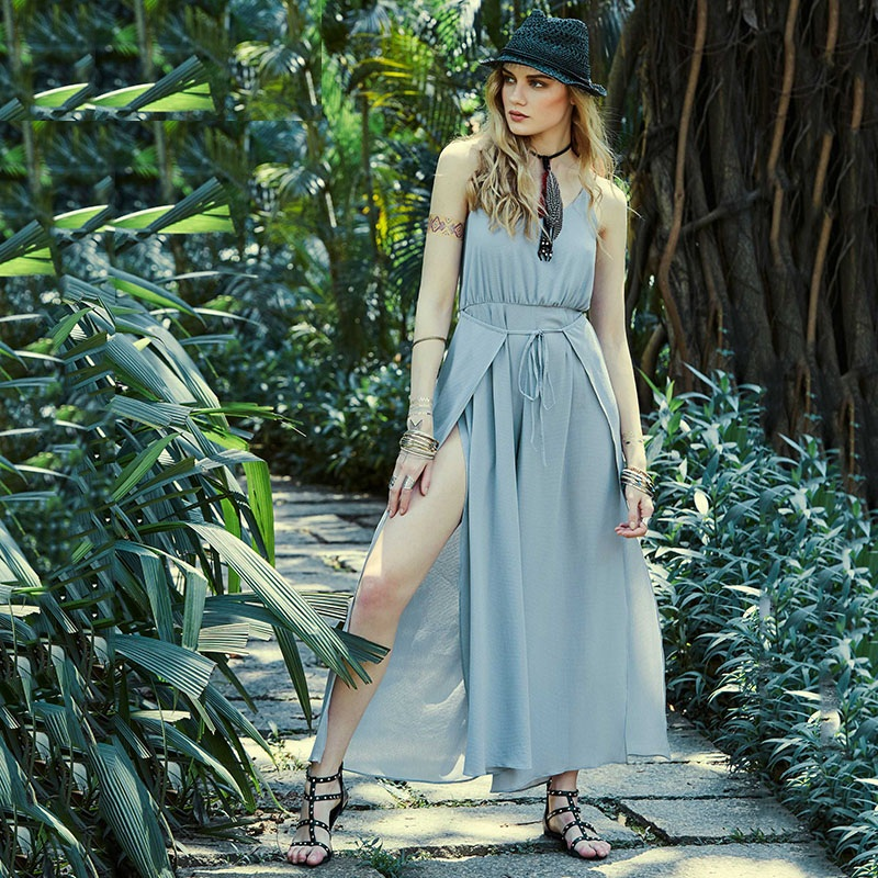 Sisjuly 2018 Summer New Women Long Jumpsuit Lace Up Straps Sleeveless Backless Wide Legs Ladies Bohemia Beach Sexy Jumpsuits