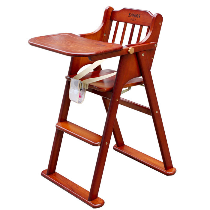 Baby Dining Chair Small Children Master All Solid Wood Portable Folding