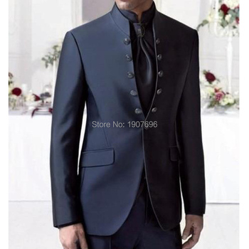 Double Breasted Groom Tuxedos Mandarin Lapel Navy Groomsmen Tunic Wedding Men Suits with Stand Collar 2 Piece Jacket Pants 2019