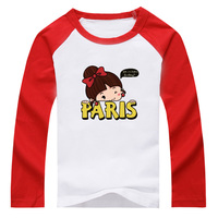 2017 New Girls Paris Printing Design Long Sleeves Patchwork T Shirt Children Spring Autumn Shirts For