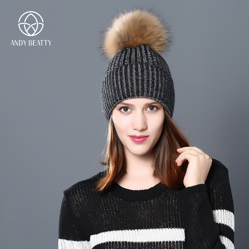 Andybeatty Raccoon Wool Fox Fur Pom Poms Hat Female Women Warm Knitted Casual High Quality Vogue Winter Hats Skullies Beanies skullies beanies newborn cute winter kids baby hats knitted pom pom hat wool hemming hat drop shipping high quality s30