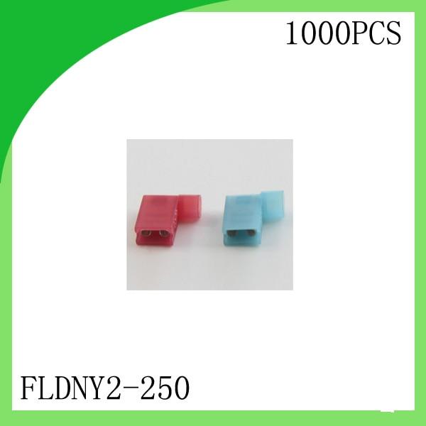 Brass 1000 PCS FLDNY2 250 Full Insulated Female Flag Crimp Terminal cold pressure ternminal