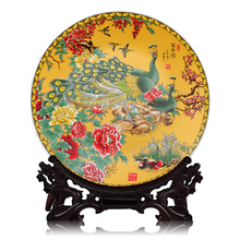 ceramics 40CM pastel Golden Peacock figure hanging plate decorative plate Home Furnishing large living room decoration