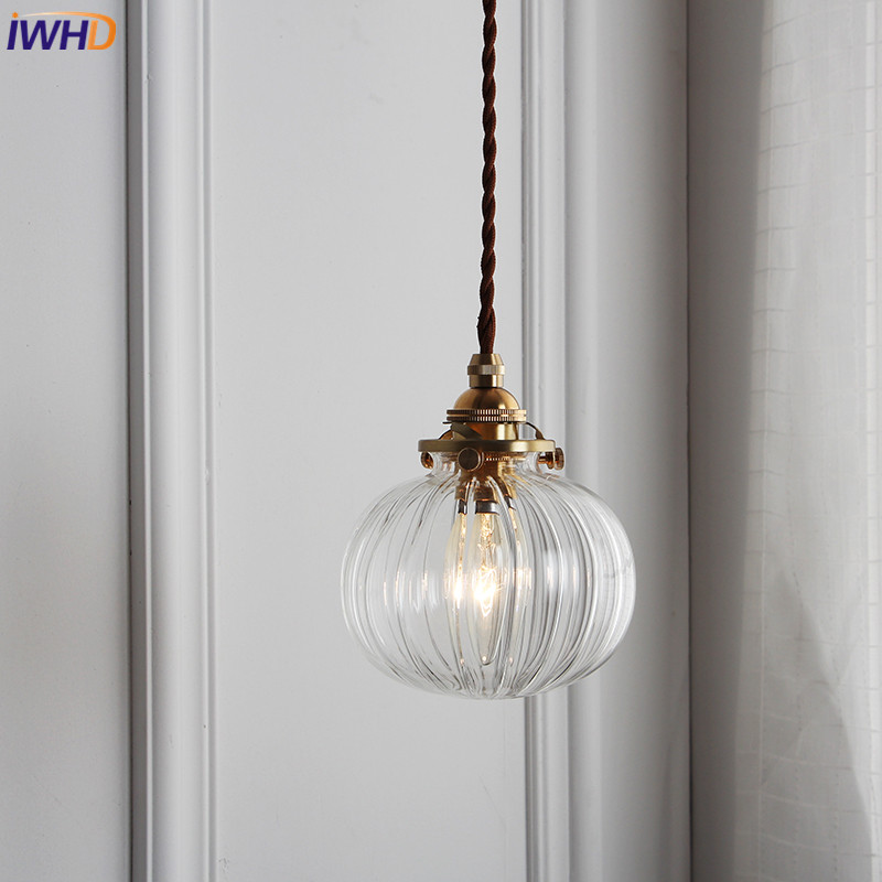 IWHD Glass Copper LED Pendant Lights Vintage Nordic Loft Style Hanglamp Simple Modern Suspension Luminaire Retro Home Lighting iwhd aluminum led pendant light modern bedroom living room hanglamp home lighting fixtures nordic style suspension luminaire