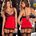 Women hot sale sexy lingerie hot pole dance red dress langerie sexy underwear erotic lingerie lenceria sexy costumes +stockings