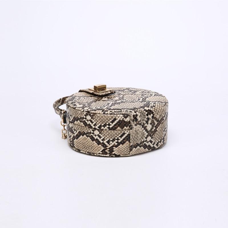 Retro Serpentine Chain Round Bag Women Handbags Printed Small PU Leather Shoulder Crossbody Bags Female Serpentine Messenger Bag
