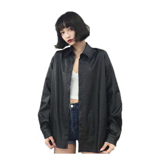 e8c38de00ced Spring Oversize Shirt Wild Jacket wonmen Temperament Fashion Long Leather  Jacket Female Black Ladies streetweat Outerwear A188